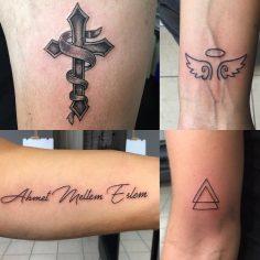 #texttattoo #crosstattoo #triangletattoo #angelwingstattoo #tattoo #dovme #dovme…