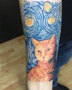 #cattattoo#colortattoo#vangoghcattattoo #intenzetattooink #tattoo #tattoo #dovme…
